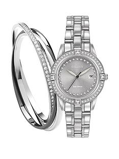 citizen-citizen-eco-drive-039silhouette-crystal039-stainless-steel-ladies-gift-set