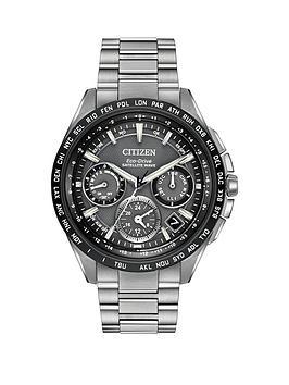 Citizen EcoDrive Satellite Wave World Time GPS Chronograph Titanium Bracelet Mens Watch