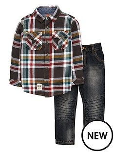 ladybird-boys-check-shirt-amp-jeans-set-2-piece
