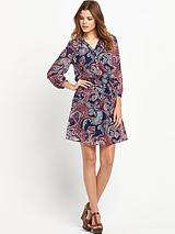 Paisley Printed Shirred Dress