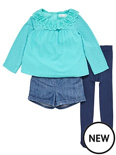 ladybird-girls-dobbynbsptop-denim-shorts-and-tights-set-3-piece-12-months-7-years