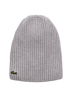 lacoste-ribbed-mens-beanie-ndash-grey
