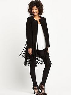 wallis-long-suede-fringe-coat