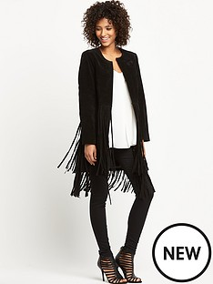 wallis-long-suede-fringe-coat