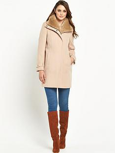 wallis-faux-fur-collared-funnel-neck-coat