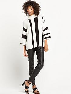 wallis-monochrome-stripe-funnel-neck-jumper