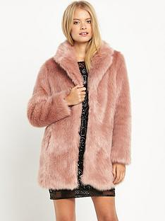 miss-selfridge-pink-faux-fur-coat
