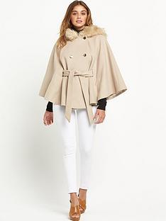 miss-selfridge-swing-cape-with-faux-fur-hood