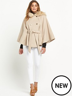 miss-selfridge-swing-cape-with-faux-fur-hood