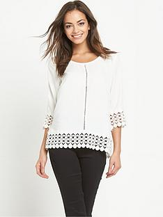 vila-crochet-hem-top-with-three-quarter-sleeves