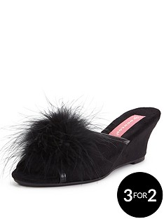 dunlop-marilyn-fluffy-low-wedge-mule-slipper