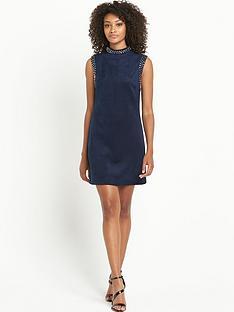 definitions-stud-high-neck-suedette-dress