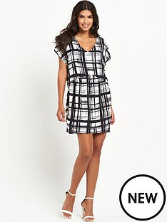 vila-printed-v-neck-dress