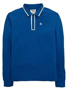 penguin-penguin-ls-tipped-polo-mid-blue