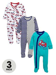 ladybird-baby-boys-fire-engine-sleepsuitsnbsp3-pack