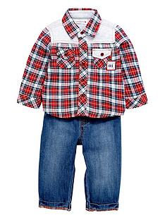 ladybird-baby-boys-check-shirt-and-jean-set