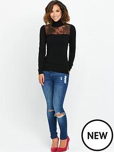 myleene-klass-lace-panel-polo-neck-jumper