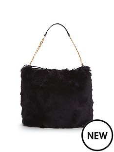 faux-fur-slouch-shoulder-bag-black