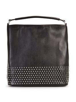 Studded Panel Slouch Shoulder Bag