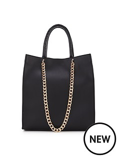 double-chain-tall-shopper-black