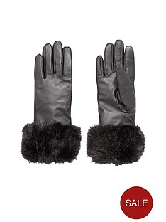 faux-fur-trim-leather-glovesnbsp