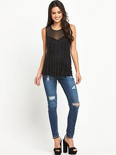 definitions-fringe-sweetheart-neck-top