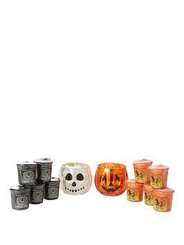 yankee-candle-halloween-pumpkin-votive-holder-amp-halloween-skull-votive-holder-with-10-votives-5-x-witches-brew-5-x-candy-corn