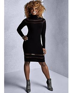lipsy-black-sheer-stripe-dress