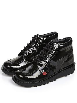 Kickers Kickers Kick Hi Patent School Shoes - Black Picture