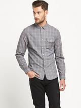 Window Pane Check Mens Shirt – Grey