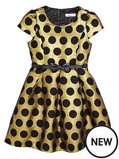 ladybird-toddler-girls-gold-amp-black-spot-party-dress-1-7-years