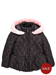 ladybird-girls-bow-quilted-coat-with-faux-fur-trim-12-months-7-years