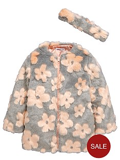 ladybird-girls-daisy-faux-fur-collarless-coat-and-headband-set-2-piece-12-months-7-years