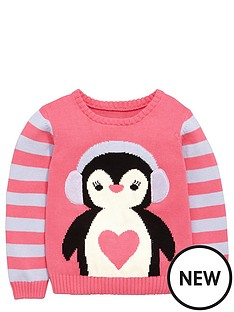 ladybird-toddler-girls-christmas-novelty-penguin-jumper-1-7-years