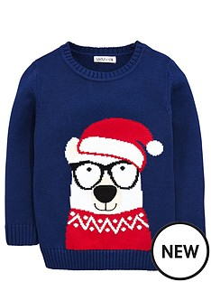ladybird-toddler-boys-bear-in-a-santa-hat-jumper-1-7-years