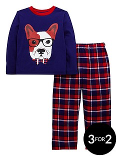 ladybird-boys-french-bulldog-and-check-pyjamas-set-with-sleepover-bag-12-months-7-years