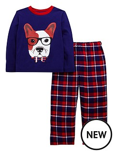 ladybird-toddler-boys-frenchie-check-pyjamas-with-sleepover-bag-1-7-years