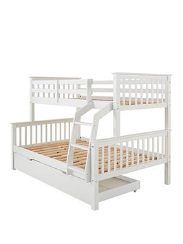 Novara Detachable Trio Bunk Bed In Pine Grey Or White With Optional