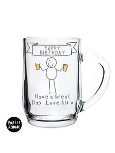 purple-ronnie-personalised-happy-birthday-glass-tankard