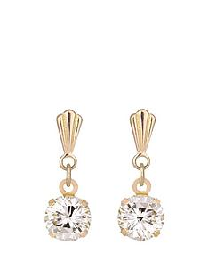 andralok-andralok-9-carat-yellow-gold-5mm-round-cubic-zirconia-drop-earrings