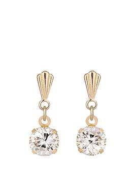 Andralok Andralok 9Carat Yellow Gold 5mm Round Cubic Zirconia Drop Earrings