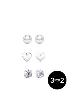 andralok-andralok-sterling-silver-set-of-three-5mm-ball-stud-heart-and-cubic-zirconia-stud-earrings
