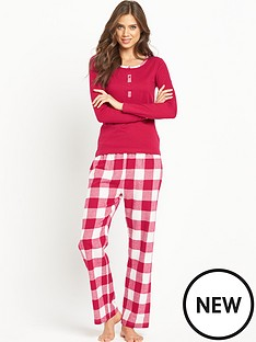 sorbet-red-check-with-jersey-top-pj