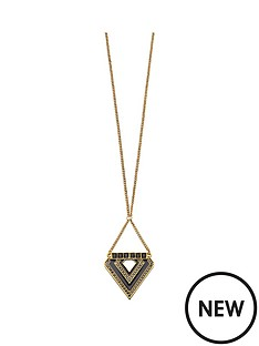 fiorelli-blackened-gold-crystal-and-resin-triangle-necklace