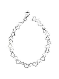 the-love-silver-collection-sterling-silver-diamondnbspcut-heart-bracelet