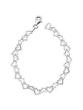 the-love-silver-collection-sterling-silver-diamondnbspcut-heart-bracelet