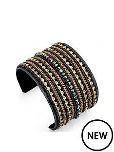 fiorelli-black-and-multi-crystal-beaded-cuff-bangle