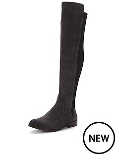 clarks-bizzy-girl-knee-boots-dark-grey-suede