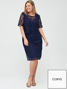 9154b70dc0d V by Very Curve Double Layer Lace Midi Dress - Navy