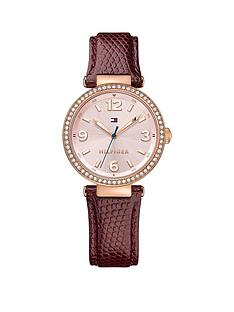 tommy-hilfiger-light-pink-sunray-dial-navy-lizard-leather-ladies-watch